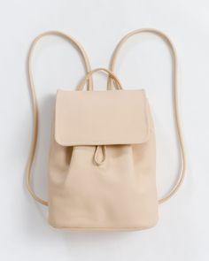 3b4ac2b2c4c6 Mini Backpack - Leather Backpack - Natural - Natural - A mini leather  backpack with drawstring