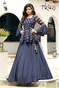Blue Silk Plain Designer Lehenga Choli with Layered Sleeved Peplum Blouse - - Blue Silk Plain Designer Lehenga Choli with Layered Sleeved Peplum Blouse Source by sareecom_india Gown Party Wear, Party Wear Indian Dresses, Designer Party Wear Dresses, Party Wear Lehenga, Indian Gowns Dresses, Dress Indian Style, Indian Fashion Dresses, Indian Designer Outfits, Designer Gowns