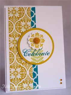 Colour combo idea - Stampin' Up! SAB by Nikki Spencer at my sandbox Card Patterns, Sympathy Cards, Copics, Paper Cards, Cool Cards, Flower Cards, Anniversary Cards, Homemade Cards, Stampin Up Cards