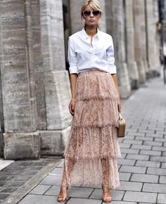 ZARA PINK LONG RUFFLED LACE SKIRT S,M,L REF.7901/010 SS18 BLOGGERS FAVORITE