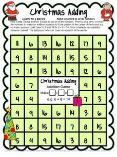 CHRISTMAS MATH FREEBIE - 4 Printable Math Board Games