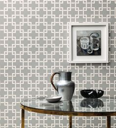 Interior design trend, Trellis geometric wallpaper | Orden Wallpaper by Romo | Jane Clayton