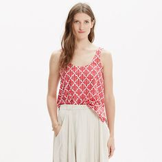 A minimalist crop tank in a bold print inspired by traditional ikat. Pretty perfect with high riser jeans or a skirt. <ul><li>Cropped fit.</li><li>Cotton poplin.</li><li>Machine wash.</li><li>Import.</li><li>Madewell.com only.</li></ul>