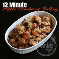 An easy #recipe for a traditional Thanksgiving side dish - 12 Minute Apple Cranberry Stuffing