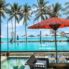 One of our unique luxury thailand umbrellas Maldives Villas, Outdoor Garden Furniture, Outdoor Decor, Thailand, Garden Parasols, Sun Umbrella, Furniture Market, Bespoke Design, Oriental