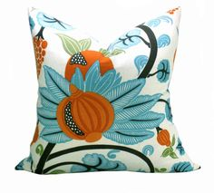 Osborne & Little Maharani pillow cover in Turquoise by sparkmodern
