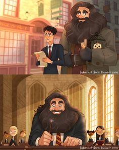 Hagrid going back to Hogwarts after the war, and Harry taking him to Diagon Alley to return the favor :) Art by http://lulusketches.tumblr.com/
