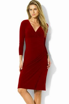Ralph Lauren Red Dress This Style Is Flattering On An Hour Gl Shape Holiday Dresses