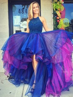 Glamorous A-Line Blue Prom Dress - Jewel High Low Beading Pleats