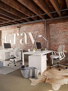 GRAY Magazine's Modern Glam Office – Room & Board – industrial office interior Office Space Design, Modern Office Design, Office Interior Design, Modern House Design, Office Interiors, Office Designs, Modern Desk, Office Ideas, Modern Office Spaces