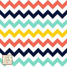 "Retro Summer Chevron Cotton Jersey Blend Knit Fabric - Exclusive from the Girl Charlee collection! Our newest four color chevron zig zag print in lush retro colors of emberglow coral, oxford blue, minty ice green, and buttercup yellow on our signature soft white cotton blend jersey knit. Fabric is very soft, mid weight, and has a nice stretch and drape making is suitable for all applications. Chevron is 2"" tall and just under 1/2"" thick. :: $6.50"