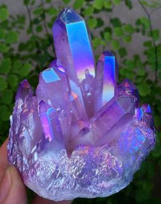 "Purple/blue Aura Crystal Quartz - [Note to self: sent to A.L. 11-22-17 w/this msg: ""Maybe all those lovely purple pieces in the pin you sent me yesterday have magically blended themselves into something like this? LOL.""]"