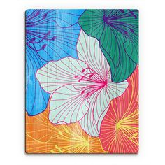 Horizon Colorful Hibiscus' Wood Wall Art