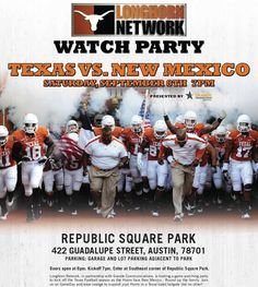 What are you doing for the Texas vs. New Mexico game? What's that? You're sitting around in your burnt-orange underwear? Get off that couch! Longhorn Network is presenting an awesome Longhorn Watch Party at Republic Square Park! Food, drinks, giveaways, a big ol' LED TV, and tons of your fellow Longhorn-loving friends....and did we mention it's totally free? http://do512blog.com/2012/09/05/longhorn-network-brings-you-a-longhorn-watch-party-in-the-park/