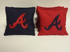 Atlanta Braves custom embroidered cornhole bags ACA regulation corn hole baggo tailgate toss bean bags