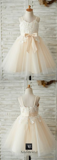 d65f543e4fb  56.99  Sweet Lace   Tulle Spaghetti Straps Neckline A-line Flower Girl  Dresses With Bowknot - adasbridal.com