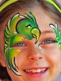 A good gallery of ideas for advanced face painting - Parrot Parrot Painting, Girl Face Painting, Balloon Painting, Belly Painting, Face Painting Designs, Painting For Kids, Paint Designs, Animal Face Paintings, Animal Faces