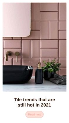 Textured finishes, patterned designs and large format tiles, are still hot when it comes to tile trends in 2021. With emphasis on bold colors and natural stone like marble, these tile trends xan help you complete your next kitchen or bathroom project in style. Bathroom tile ideas. #bathroom #renovation #seasonsincolour Bathroom Trends, Budget Bathroom, Bathroom Gadgets, Shower Tile Designs, Large Format Tile, Sink Design, Kitchen Tile, Luxury Decor, Tile Ideas