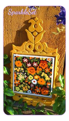Vintage 1970s Yellow and Orange Tile and Cast Iron by SparkleSet