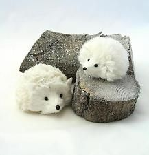 Gisela Graham Christmas Snowy Set of Hedgehog Decorations