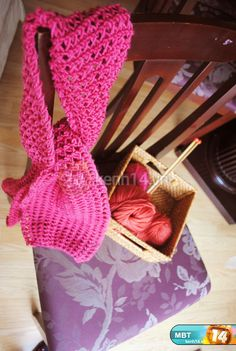 knitted scarf, heart knot ~ photos tutorial