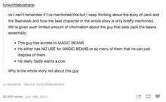 We want the real story <- That guy must be awesome #Jack #BeanStalk #MagicBeans