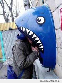creative phone booths, shark