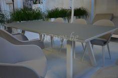 Gescova Azur Versace Table de repas jardin Rectangulaire Aluminium Blanc Rallonge plateau en verre trempé dépoli Blanc 220