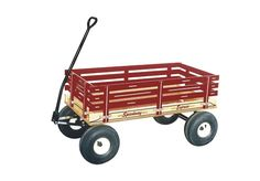 """AMISH HANDCRAFTED CLASSIC OFF ROAD WAGON 40 x 24½ Bed Size with 13"""" Tires with a Scrub Brake CLASSIC RED ~ FARMER GREEN ~ PRETTY PINK ~ BEAUTIFUL BLUE Built from the finest quality hardwoods in a Lanc"""