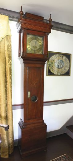 LEWIS FAMILY WILLIAM AND MARY INLAID WALNUT TALL-CASE CLOCK, CASE PROBABLY BY THOMAS THOMAS, WORKS BY JOHN WOOD, SR., PHILADELPHIA, CIRCA 1730