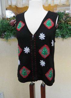 Crazy Horse Plaid Color Block Christmas Trees Zip Up Sweater Vest L Party Cute #CrazyHorseLizClaiborne #VestSleeveless