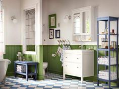 HEMNES badrumsinredning - en klassiker i badrummet, finns i vitt, svartbrunt och blått.