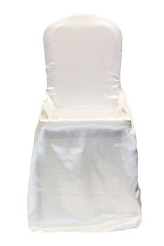Universal Satin Self Tie Chair Cover - White ● As Low as $2.29 ● Available from www.cvlinens.com