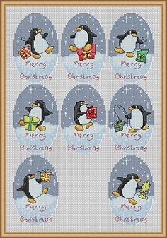 Penguins Christmas cross stitch.  (My daughter loves penguins!)