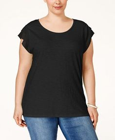 Style & Co. Plus Size Chiffon-Sleeve Top, Only at Macy's - Tops - Plus Sizes - Macy's