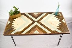 Wood Table with Hairpin Legs - Geometric Coffee Table - Mid Century Modern Home Decor - Wheat Husk Collection