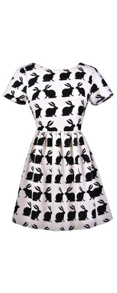 Lily Boutique Good Hare Day Bunny Silhouette Dress, $40 Bunny Print Dress, Black and White Bunny Dress, Rabbit Print Dress, Alice in Wonderland Dress www.lilyboutique.com