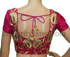 Pink blouse with gloden thread work