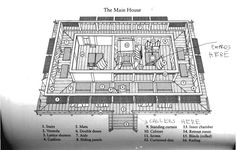 """Basic architecture of the Heian-era palace """" The world where Sei Shōnagon lived and wrote had an elaborate range of protocols and rules. Especially relevant to MYOM is the way that architecture. China Architecture, Japanese Architecture, Japanese Palace, Japanese Castle, Small Summer House, Heian Era, Heian Period, Asian House, Traditional Japanese House"""