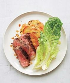 Strip Steak With Crispy Gratin-Style Potatoes from realsimple.com #myplate #protein #vegetables