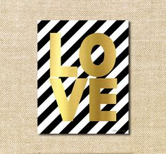Gold Love Digital with stripes Printable Print for Wall Decor DIY Decoration or Gift | Happy Valentines Day