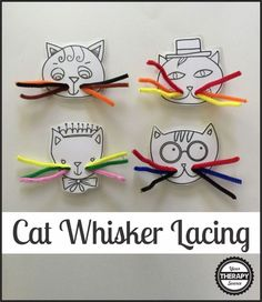 Cat's Whiskers Lacing for fine motor practice! A fun way to work on fine motor activities with toddlers and preschoolers!