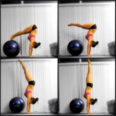 handstand press up #yoga Looks like a good way to try handstand.