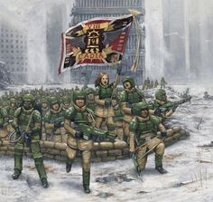 8th Cadian Regiment Charging of 8th Cadia Regiment by lathander1987 Artist's caption I've wanted to paint such concept as a fan of the Imperial Guard which is one of camp of Warhammer 40,000. Actually this painting is attempted to painting second time because first one is lost by crushing PSD file. I felt a bit shorked becuase the painting was almost done and worked for 10 days though i worked it very casual. I like the design of regiment flag so the flag is placed in middle. every process…