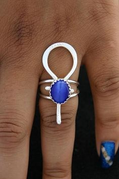 Sterling Silver Ankh Ring Stone Color Choice  by ULoveJewelry