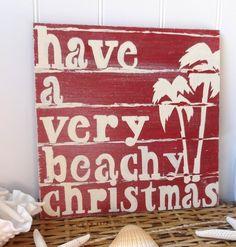 Nautical Christmas Beach Sign - Red - Coastal Wall Decor
