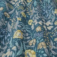 Cotswold Indigo Fabric Collection by iLiv combines sumptuous velvets, cotton prints and jacquard materials to create a luxurious selection of fabrics capturing Curtain Material, Curtain Fabric, Curtains, Classic Interior, Roman Blinds, Fabric Wallpaper, Floral Motif, Printing On Fabric, Upholstery