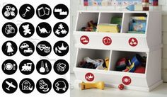 Toy Labels vinyl wall lettering words sticky art home decor quotes stickers decals Toy Labels, Vinyl Labels, Organizing Labels, Organizing Toys, Organising, Playroom Organization, School Organisation, Playroom Ideas, Wall Stickers Murals