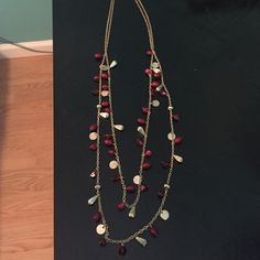 Long necklace! Long necklace! Maroon and gold! Work only once! Charming Charlie Jewelry Necklaces