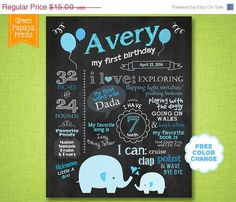 25% OFF Spring Sale First Birthday Boy's Elephant Chalkboard Sign - Printable Digital File Customized - Blue Elephants and Balloons - on Etsy, $11.25
